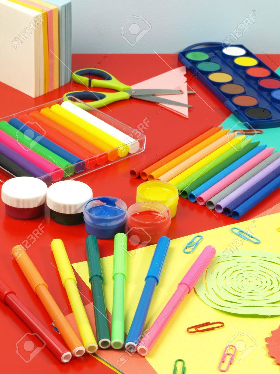 Colorful equipment for children, child work place Stock Photo - 14600881