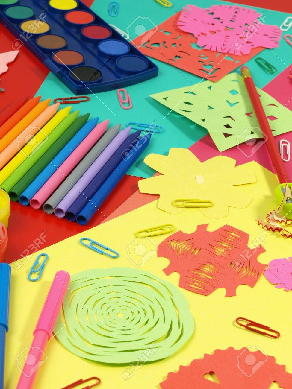Colorful craft equipment on a children table Stock Photo - 14600874