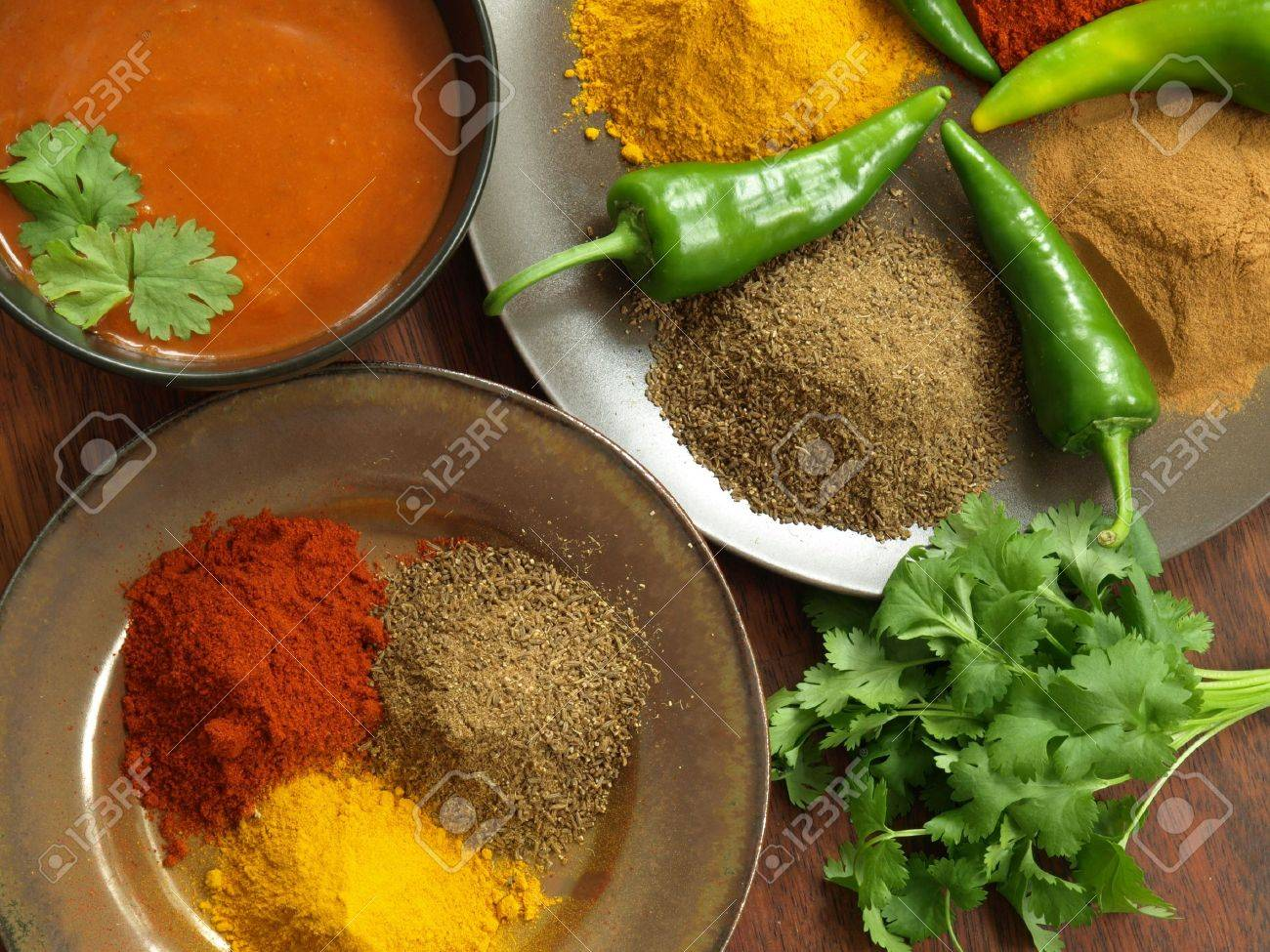 Bird eye view of indian spices and sauce Stock Photo - 14739698