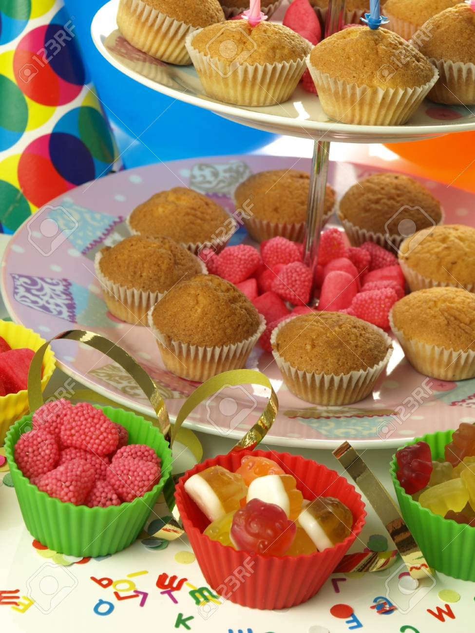 Muffins And Jelly Beans For The Birthday Party Stock Photo Picture
