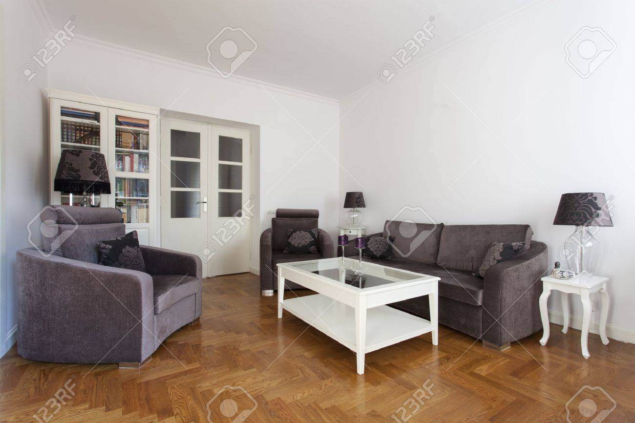 Stylish Living Room With Purple Sofa And Armchair Stock Photo   15647390 Part 76