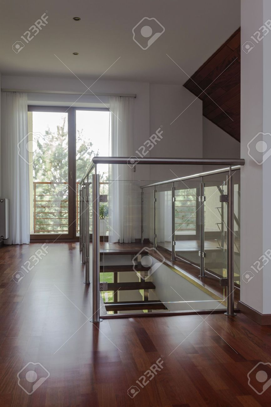 Modern House Wooden Stairs From Mezzanine To Ground Floor Stock