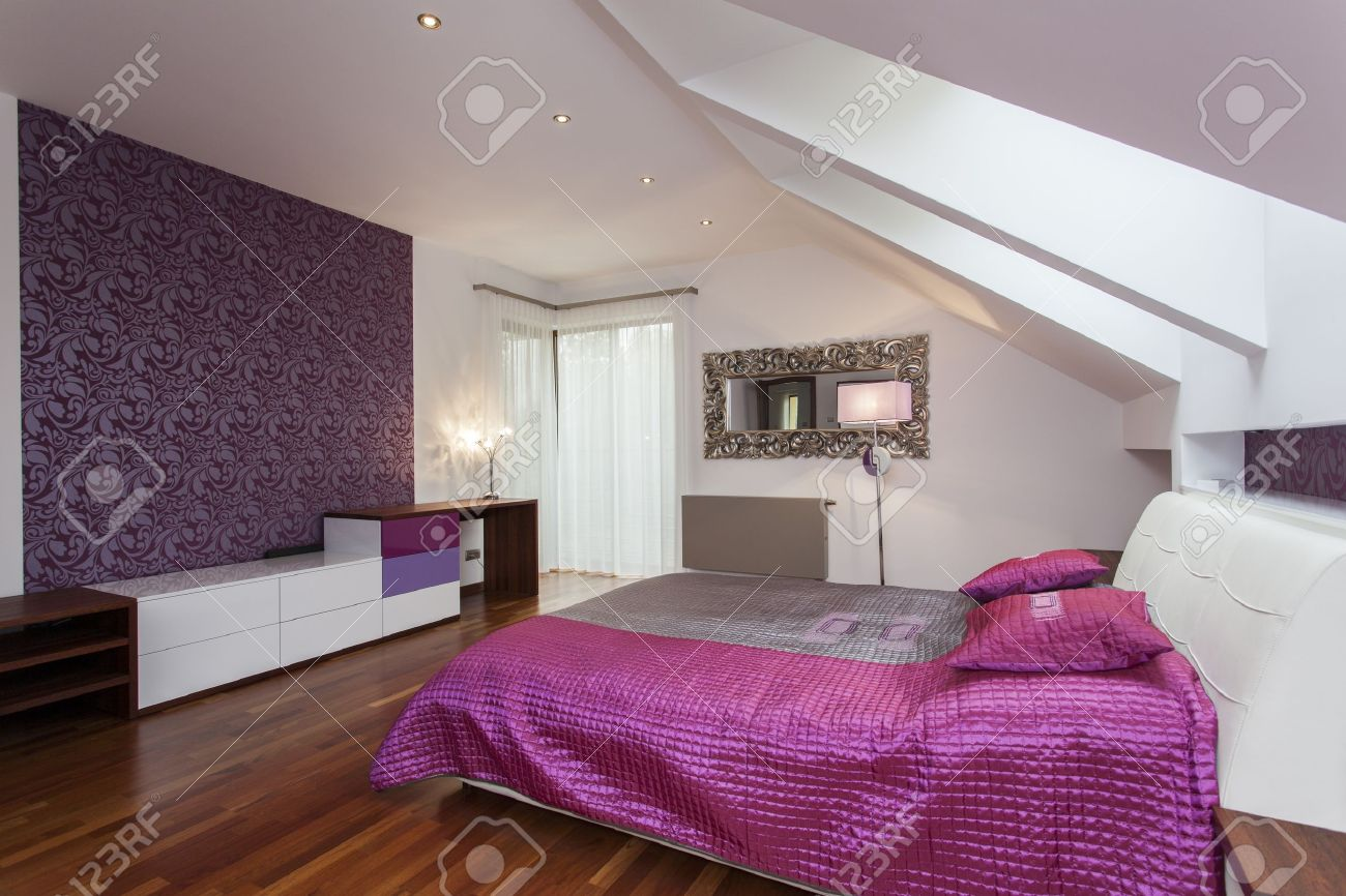 Purple Bedroom Wall White And Purple Bedroom With Patterned Wall Stock Photo Picture