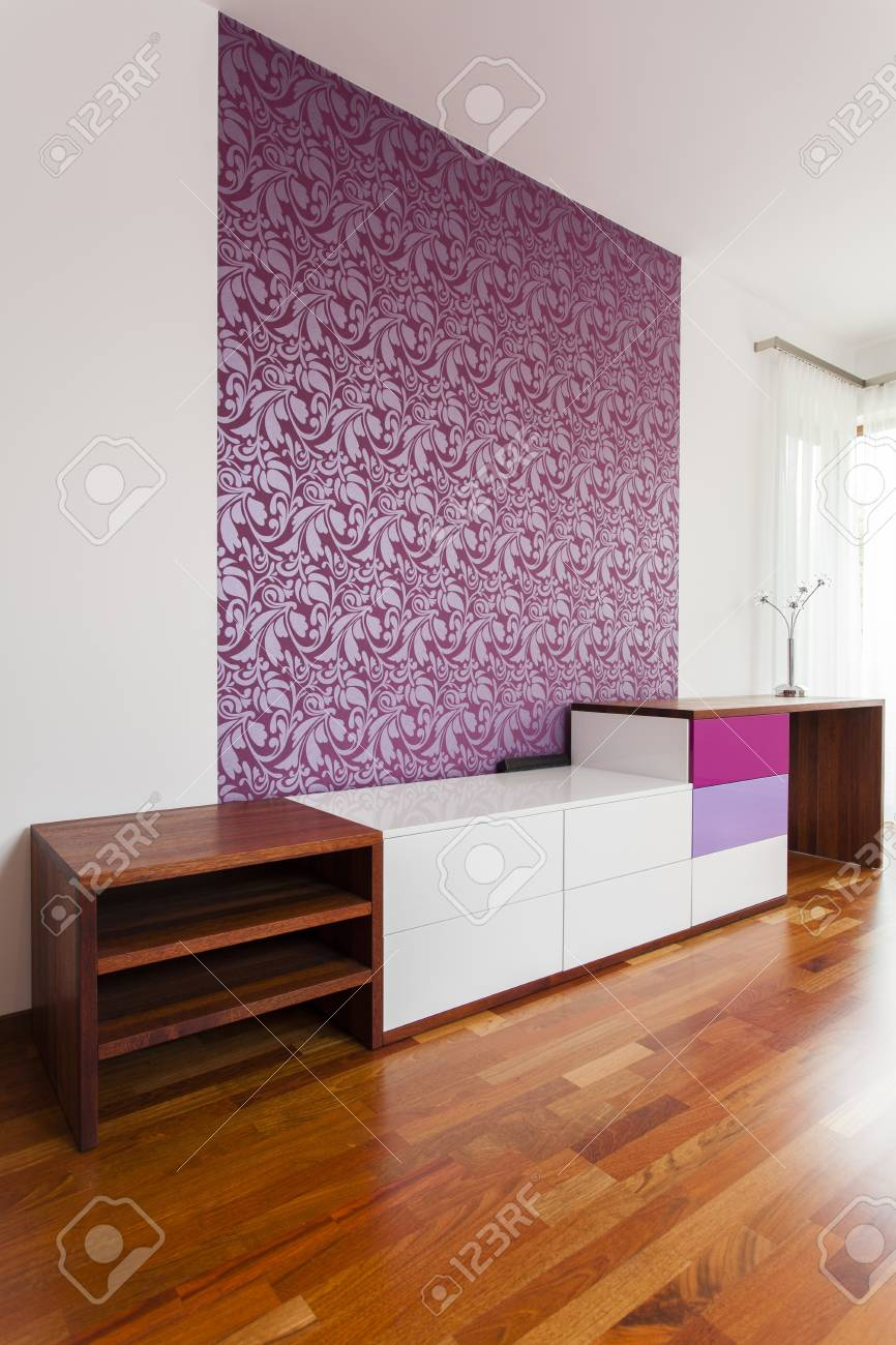 White and violet commode in stylish room Stock Photo - 15895762