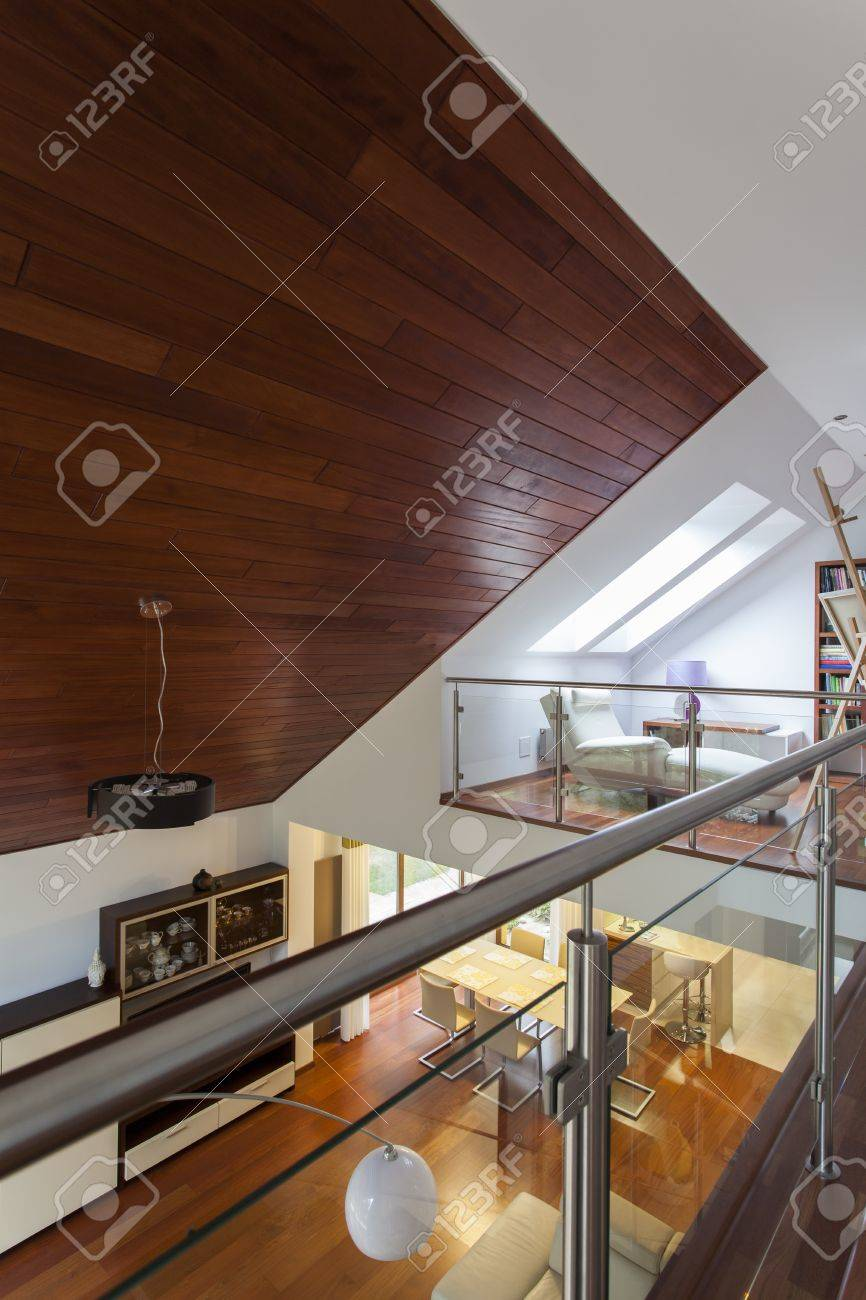 Contemporary architecture with entresol and wooden ceiling
