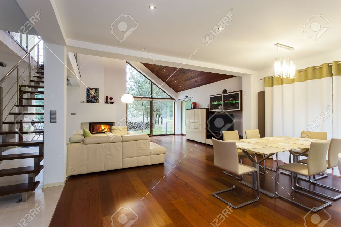 Ground floor of modern house with wooden floor stock photo 15895758