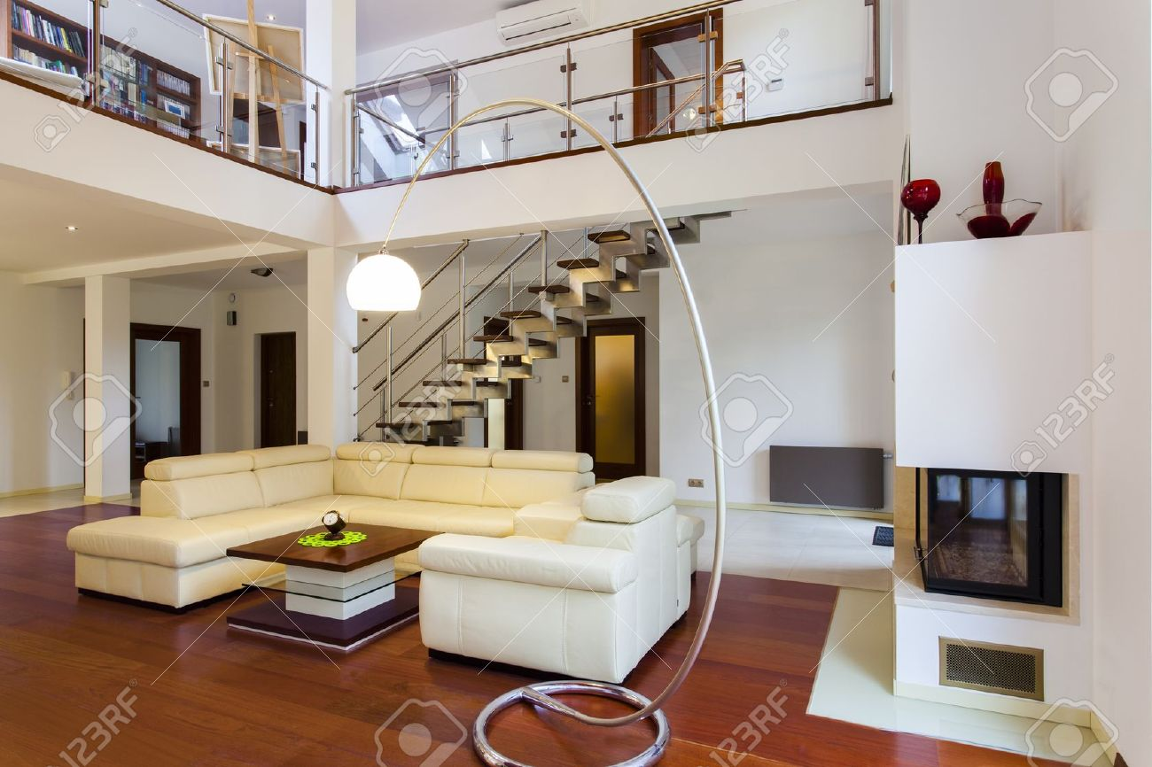 Interior Of The Big And Modern Designers House Stock Photo