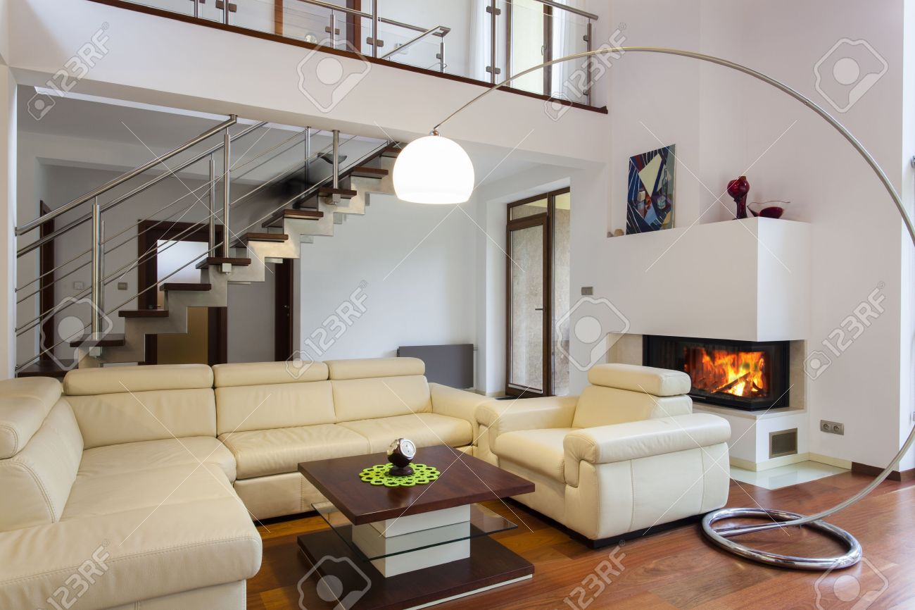 comfortable big living room living. Big And Comfortable Living Room With Bright Sofa Stock Photo - 15895752