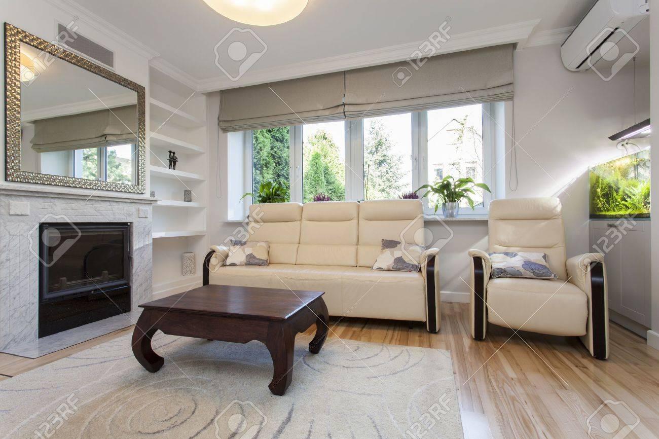 divano e poltrona in soggiorno luminoso foto royalty free ... - Soggiorno Luminoso