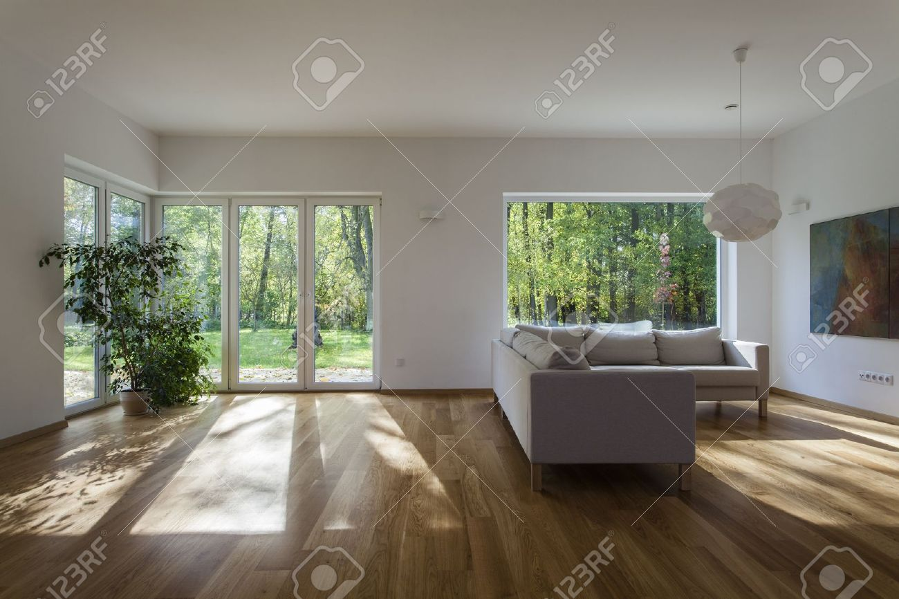 Spacious living room with overlooking to garden Stock Photo - 16164880