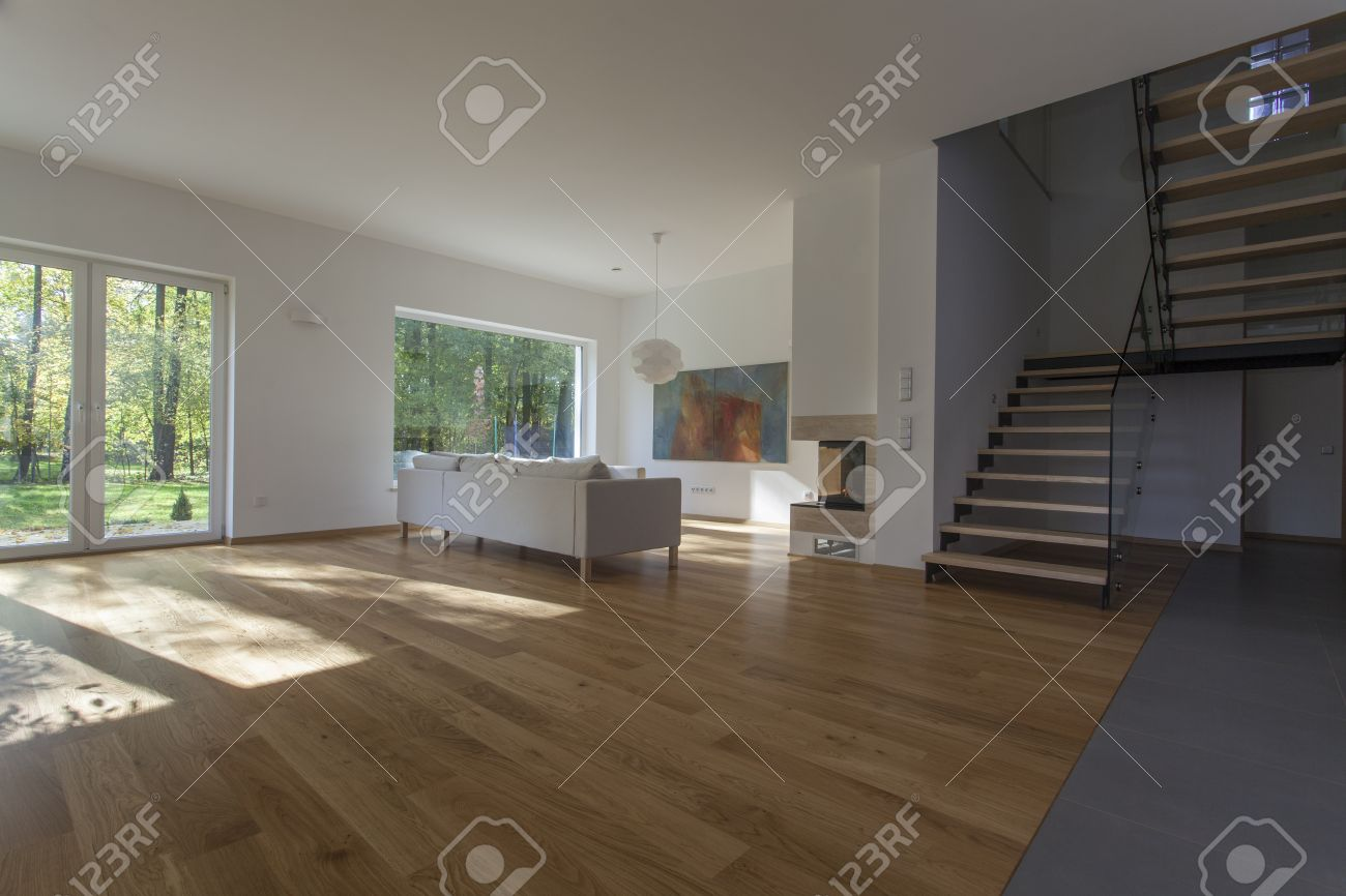 Spacious Living Room With Overlooking To Garden Stock Photo Picture