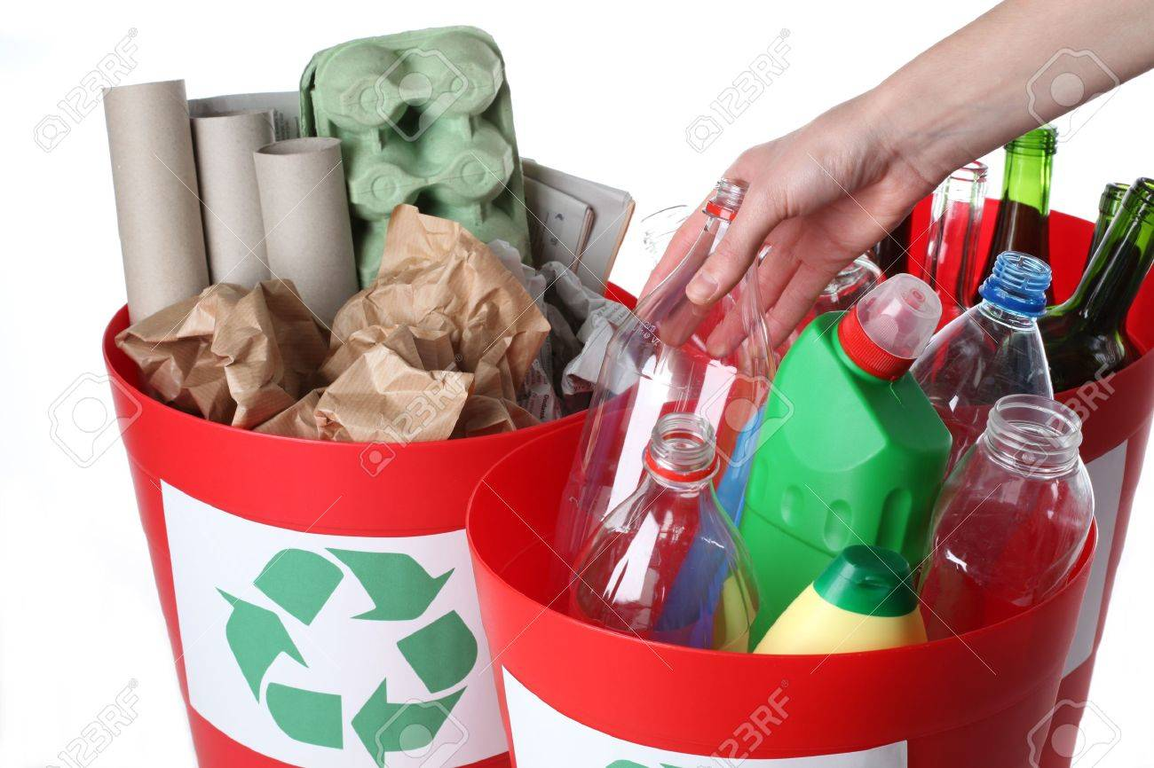 Recycling baskets- plastic, glass and paper segregation, isolated Stock Photo - 16302958