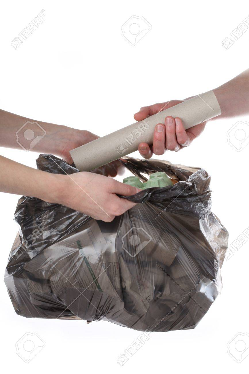 Plastic bag full of paper rubbish, isolated background Stock Photo - 16333102