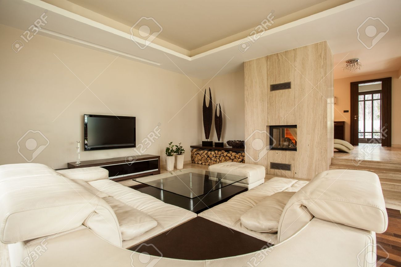 travertine house luxury and modern living room stock photo