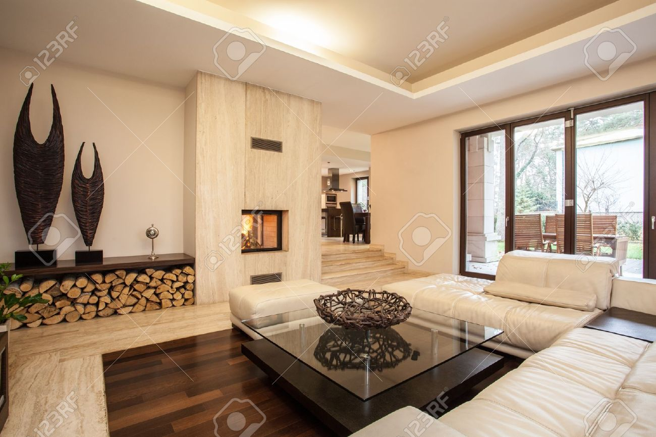 travertine house interior of beige living room stock photo