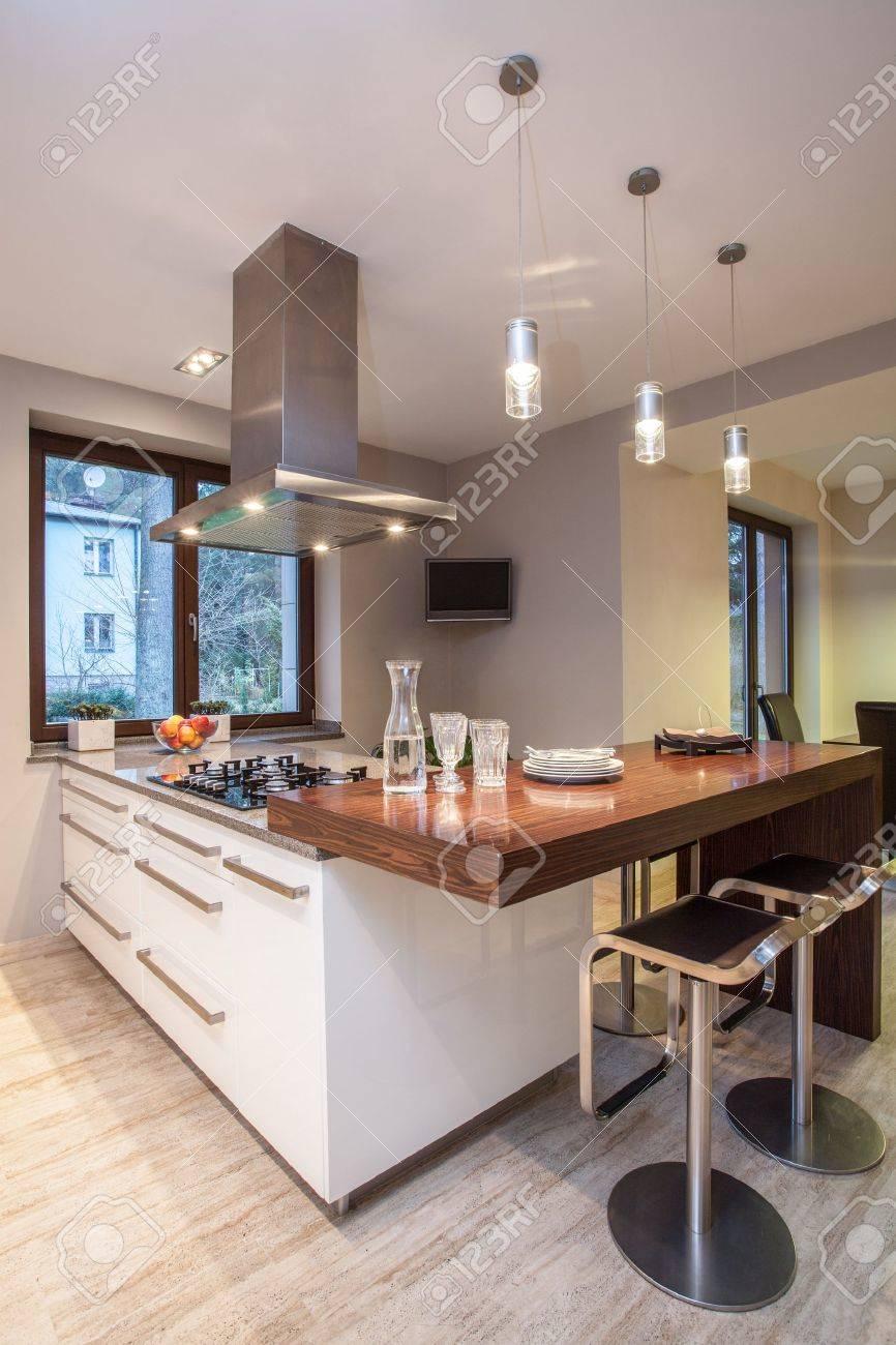 Bright Kitchen Travertine House Bright Kitchen With White Cabinets Stock Photo