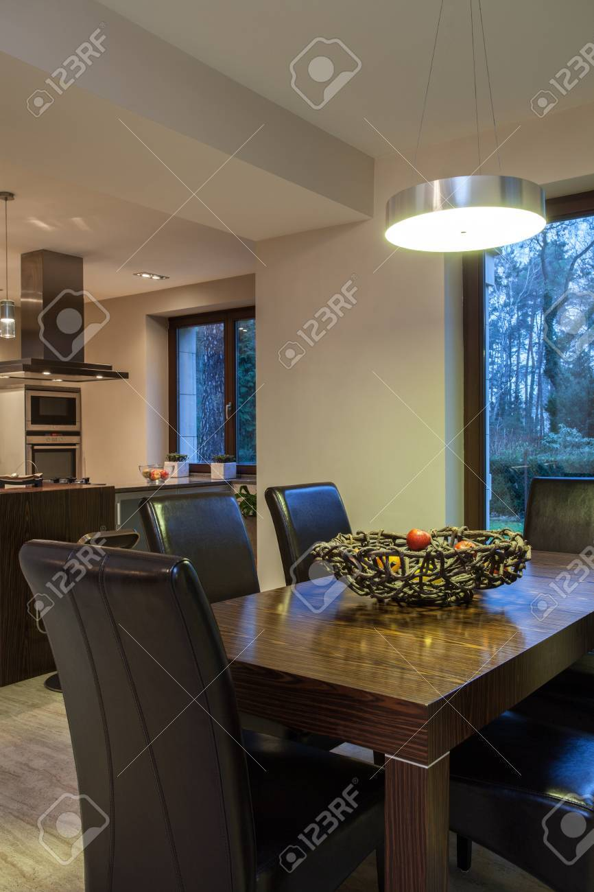 Travertine house - dining room table in close up Stock Photo - 16841953