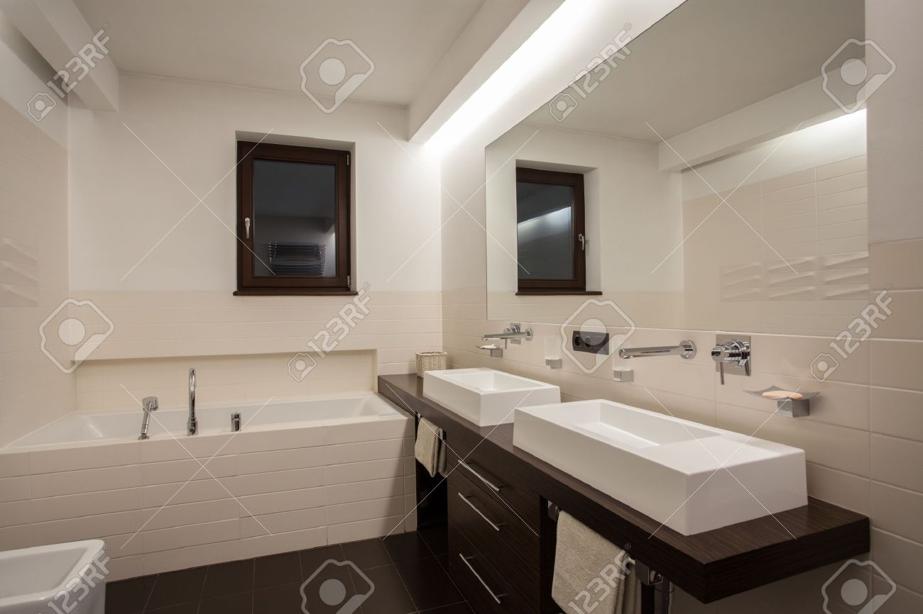 Travertine house - Cream and brown color in bathroom Stock Photo - 16906363