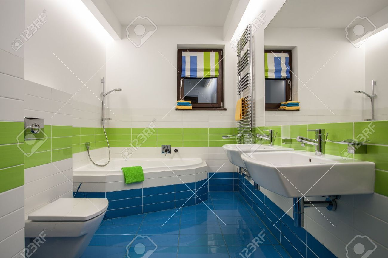 Image of: Travertine House Green Blue And White Colors In Bathroom Stock Photo Picture And Royalty Free Image Image 16906368