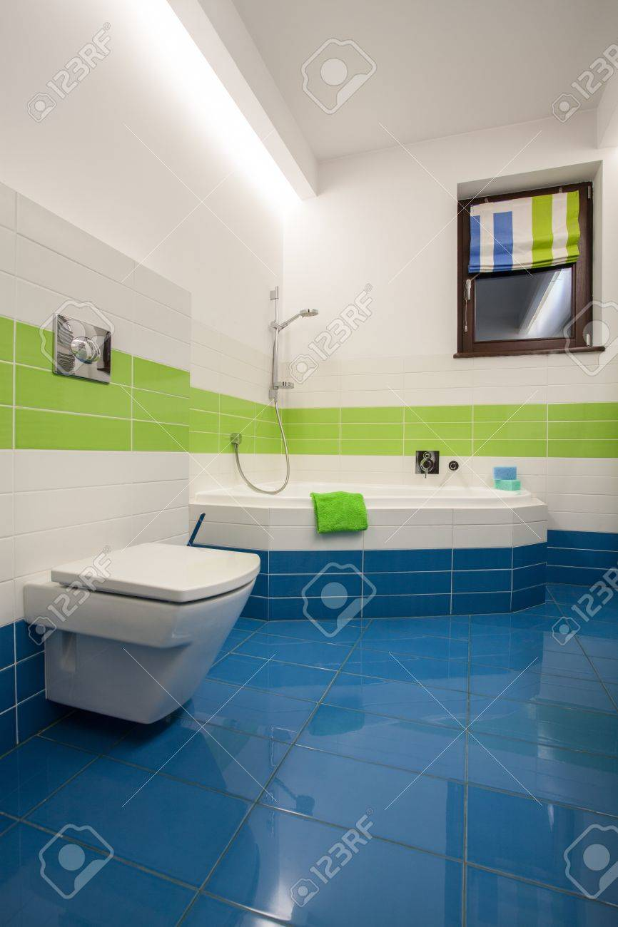 Travertine House - Colorful Bathroom: Green, Blue And White Tiles ...