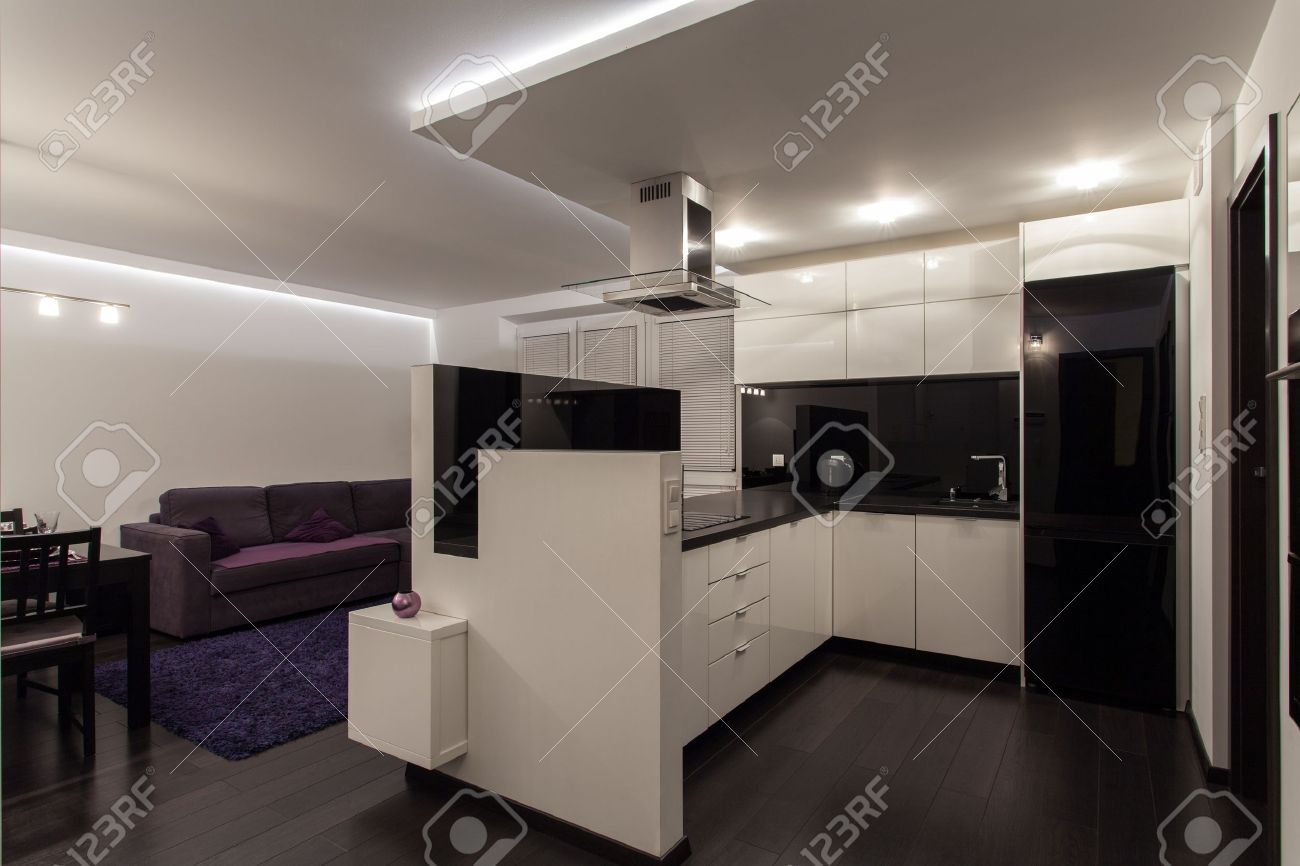 Minimalist Apartment Kitchen Connected With Living Room Stock