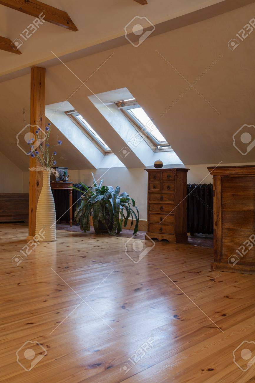 Cloudy home - attic with wooden finish classic interior Stock Photo - 17317929 & Cloudy Home - Attic With Wooden Finish Classic Interior Stock Photo ...
