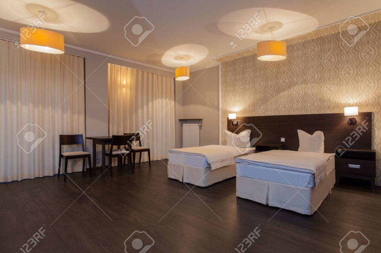 Woodland hotel - Double room in luxurious hotel Stock Photo - 17495284