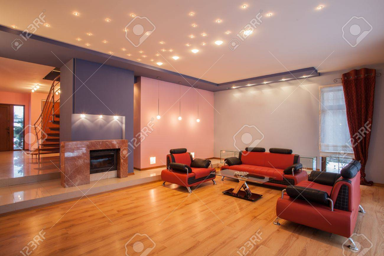 Living Room With Red Sofa Amaranth House Living Room With A Red Sofa Stock Photo Picture