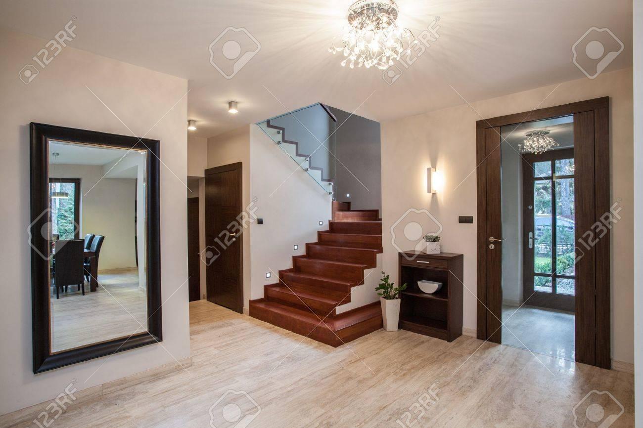 Travertine House Entrance And Hallway Modern Interior Stock Photo
