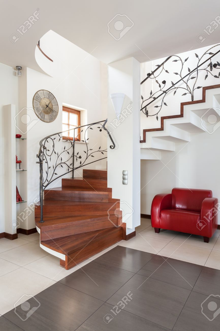 Classy house - stairs in modern and bright house interior Stock Photo - 18055370