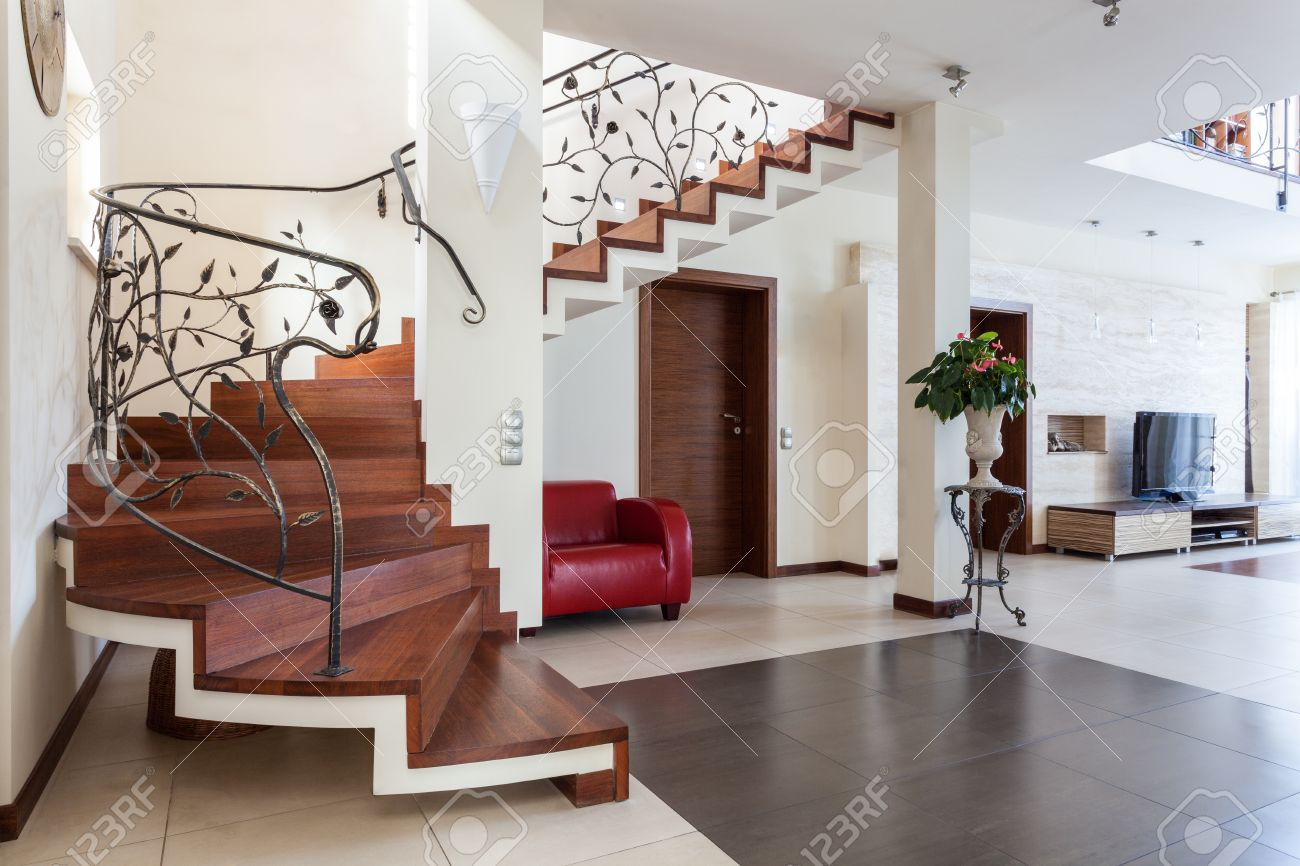 Classy House   Living Room Interior With Classic Staircase Stock Photo    18055394 Part 66