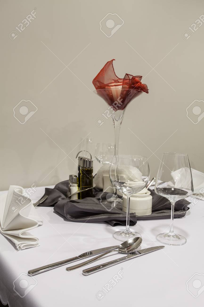 Woodland hotel - Table prepared for a dinner Stock Photo - 18242529