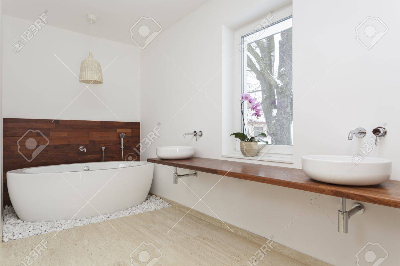 Interior Of Bathroom With Exotic Decoration Stock Photo, Picture And ...