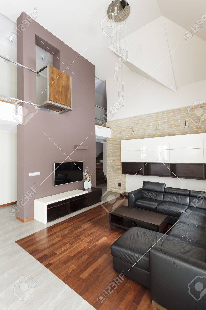 Grand Design Contemporary Living Room With Leather Sofa