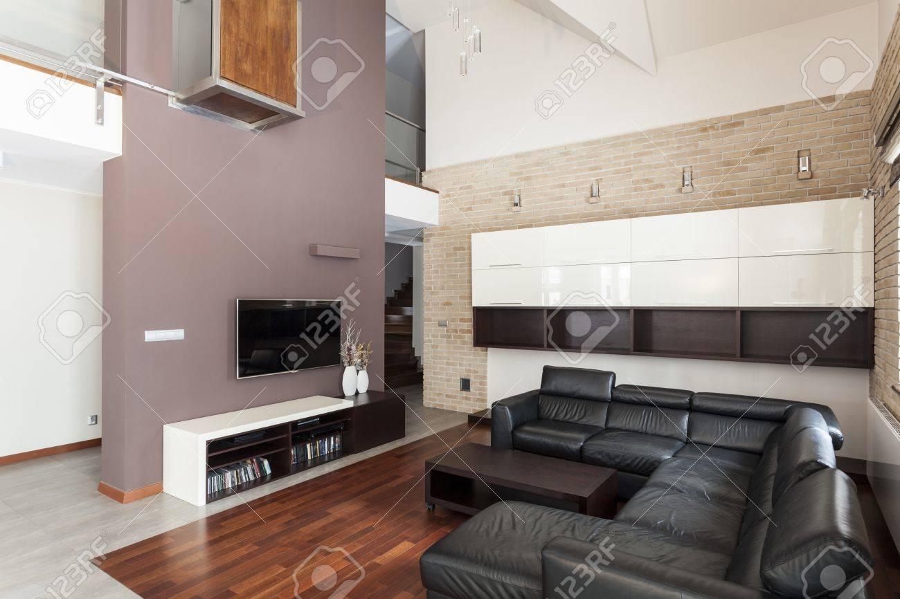 Grande conception - Grand salon avec canapé noir