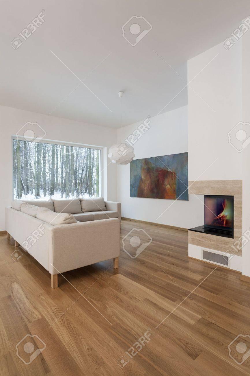 Designer Interieur Gemutliches Wohnzimmer Mit Kamin Lizenzfreie