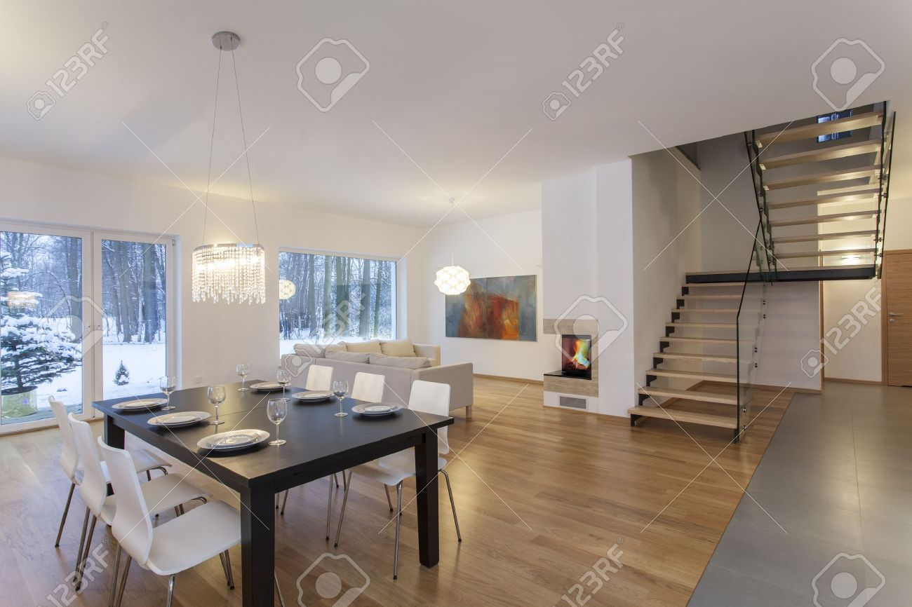 Designers Interior - Dining Room In Modern Minimalistic House Stock ...