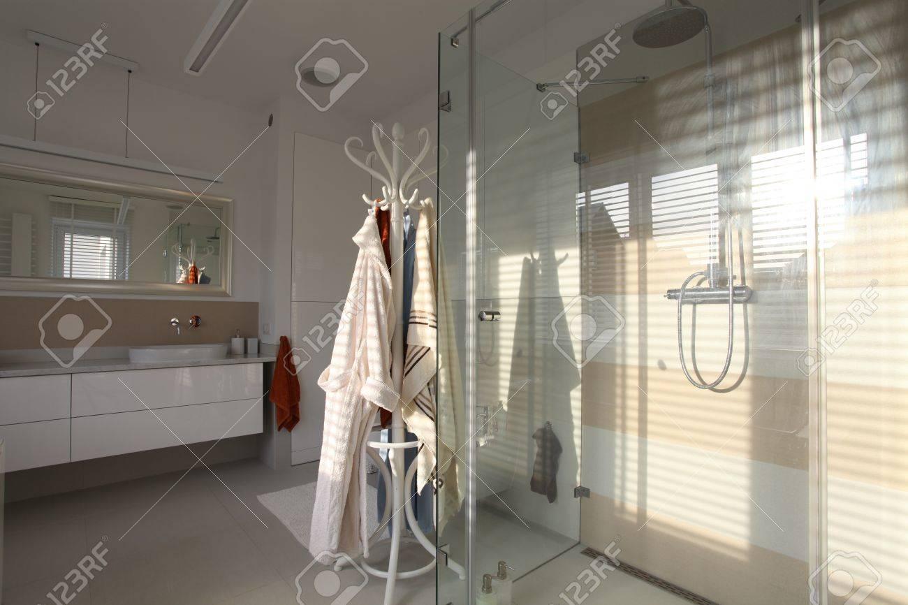 Dusche Mit Glaswänden Mit Hellen Elegantes Badezimmer Lizenzfreie