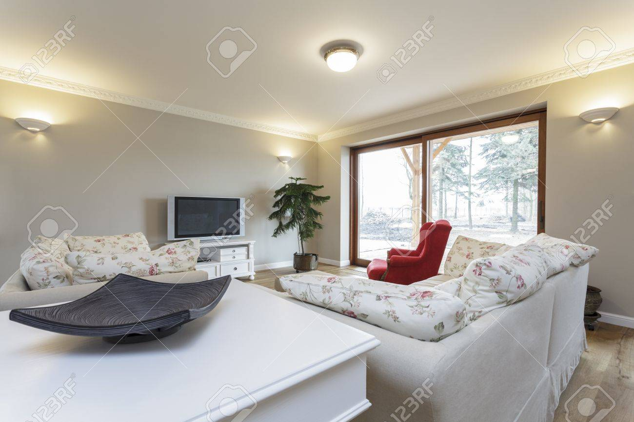 Tuscany - living room with white furniture Stock Photo - 18857395