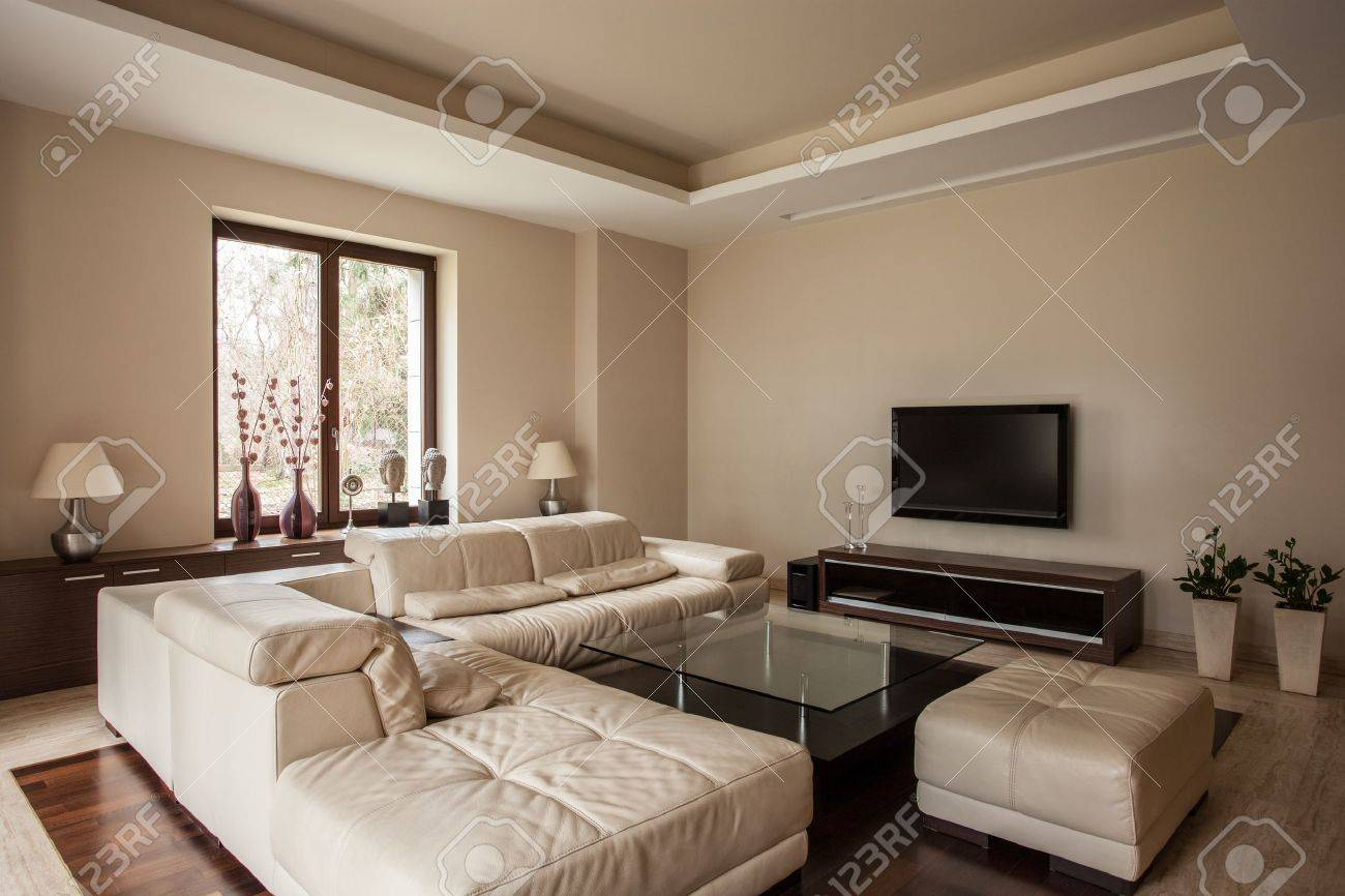 Travertine house: Soft and comfortable sofa in living room Stock Photo - 18857452