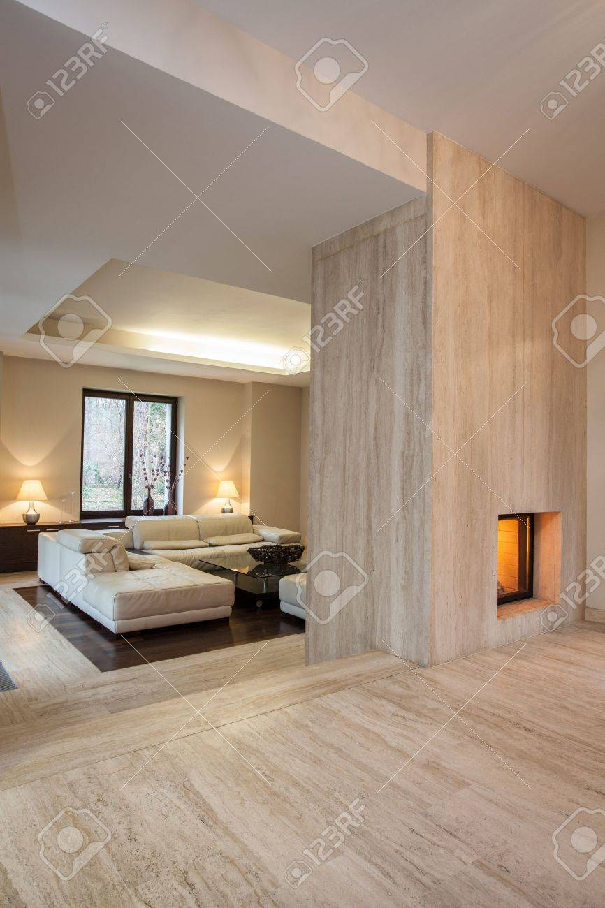 travertine house: modern contemporary hallway stock photo, picture