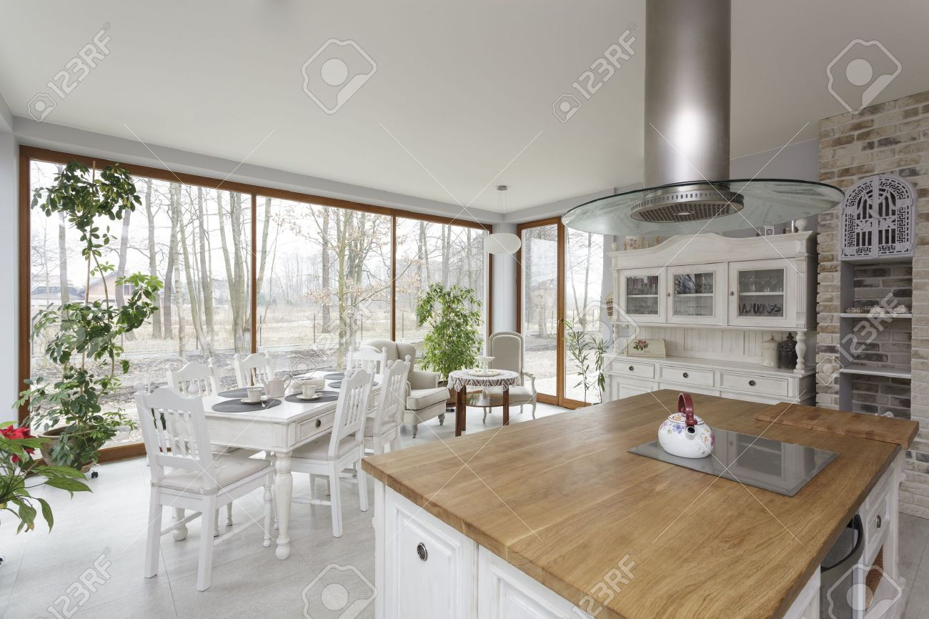 Tuscany - Bright Interior Of Vintage Kitchen Stock Photo, Picture ...
