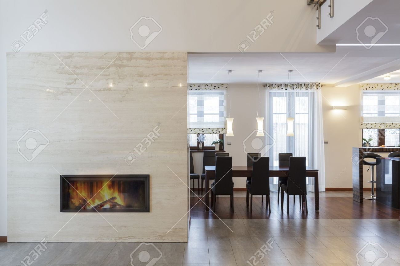 Grand design - Fireplace in living room and table Stock Photo - 19058428