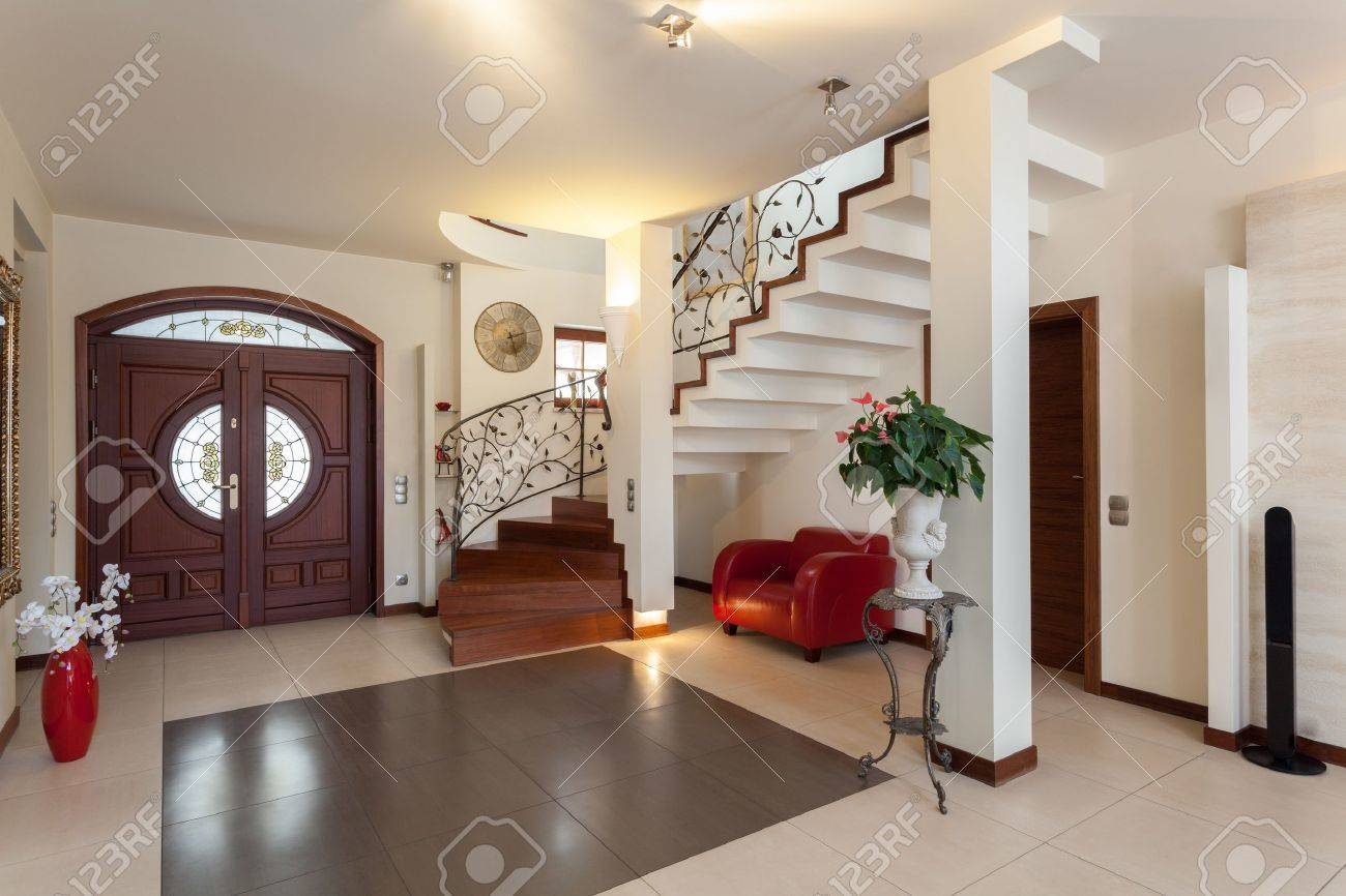 Classy House - Entrance, Living Room And Staircase Stock Photo ...