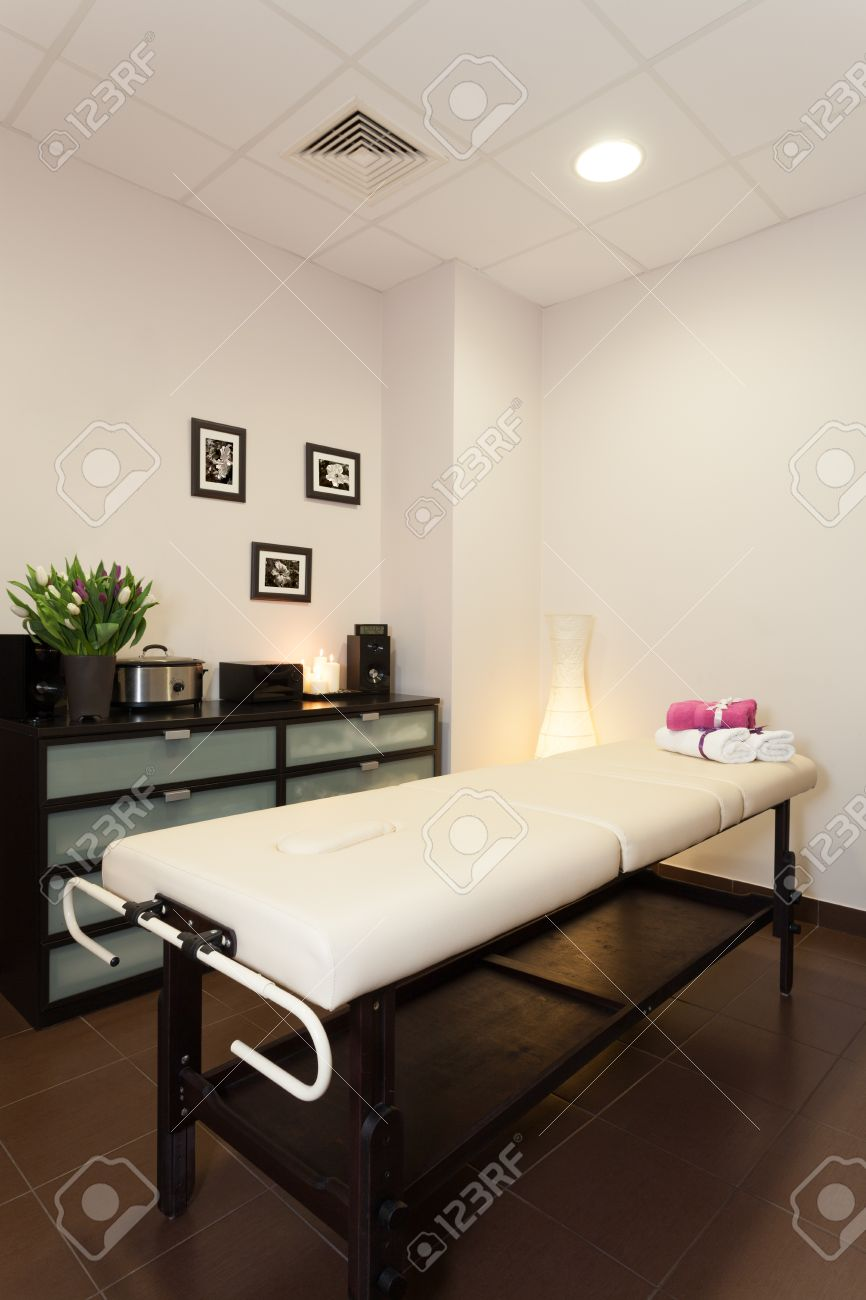 Modern massage room with a special bed Stock Photo - 19457671