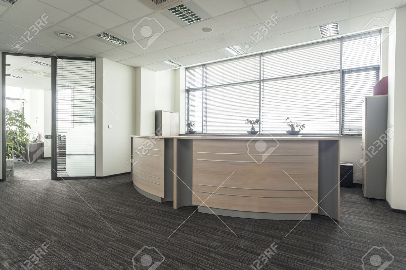 Entrance to new modern office interior, reception - 19505325