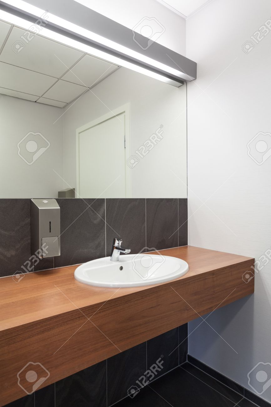 Counter And Sink In A Public Toilet Stock Photo
