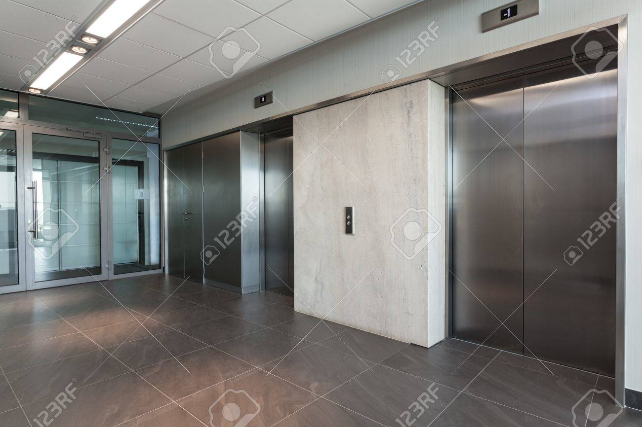 Shining Silver Elevator In A Modern Office Building Stock Photo ...