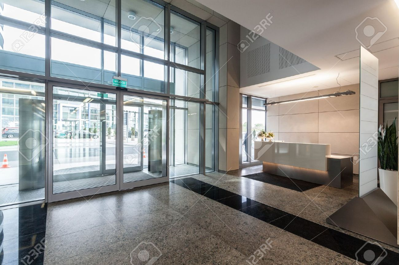 Entrance And Reception In A New Contemporary Office Building Stock Photo    19688905
