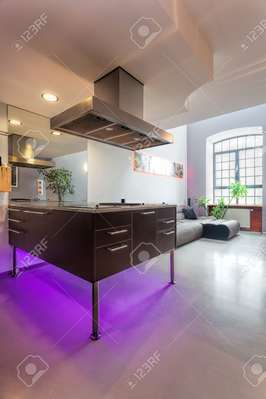Modern kitchen countertop with violet neon light Stock Photo - 20077985